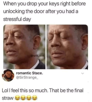 The Door: When you drop your keys right before  unlocking the door after you had a  stressful day  @will ent  romantic Stace.  @SirStrange  Lol l feel this so much. That be the final  straw