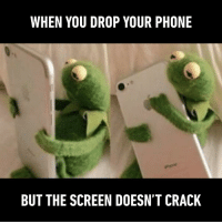 Dank, Phone, and 🤖: WHEN YOU DROP YOUR PHONE  BUT THE SCREEN DOESN'T CRACK