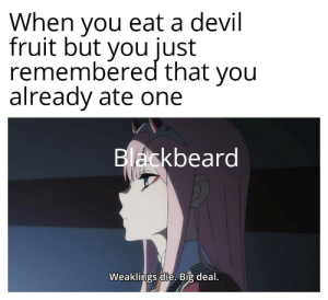 I totally forgot: When you eat a devil  fruit but you just  remembered that you  already ate one  Blackbeard  Weaklings die. Big deal. I totally forgot