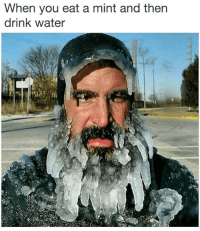 Water, Dank Memes, and How: When you eat a mint and then  drink water how it feels to chew 5 gum