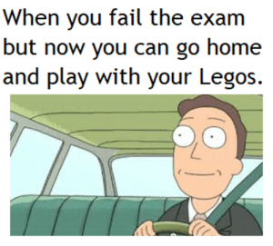 Dank, Fail, and Memes: When you fail the exam  but now you can go home  and play with your Legos. meirl by Gaat19 MORE MEMES