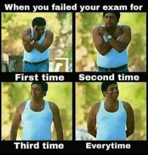 You Failed: When you failed your exam for  First time  Second time  Third time  Everytime