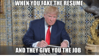 Totally unqualified and taking over as leader of the free world... What could go wrong.: WHEN YOU FAKE THE RESUME  AND THEY GIVE YOU THE JOB  Living Blue in a Red State Totally unqualified and taking over as leader of the free world... What could go wrong.