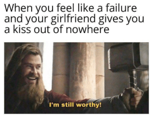I love my girlfriend so much via /r/wholesomememes https://ift.tt/2LYXFWD: When you feel like a failure  and your girlfriend gives you  a kiss out of nowhere  I'm still worthy! I love my girlfriend so much via /r/wholesomememes https://ift.tt/2LYXFWD