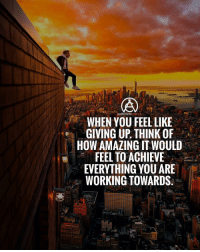 Memes, Amazing, and 🤖: WHEN YOU FEEL LIKE  GIVING UP. THINK OF  HOW AMAZING IT WOULE  FEEL TO ACHIEVE  EVERYTHING YOU ARE  WORKING TOWARDS.  LT Whenever you feel like giving up, think about how amazing it would feel to achieve what you're working for. Don't give up!!!🔥🙌