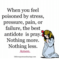 Antidote, Pressure, and Best: When you feel  poisoned by stress,  pressure, pain, or  failure, the best  antidote is pray  Nothing more.  Nothing less  Amen.  lifelovequotesandsayings.com