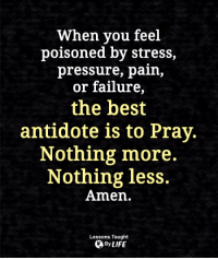 Antidote, Life, and Memes: When you feel  poisoned by stress,  pressure, pain,  or failure,  the best  antidote is to Pray  Nothing more.  Nothing less.  Amen.  Lessons Taught  By LIFE <3