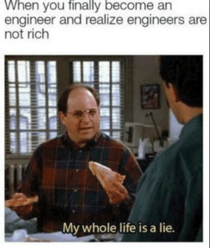 Life, House, and Engineer: When you finally become an  engineer and realize engineers are  not rich  My whole life is a lie. As a banker laughing at engineers trying to get a loan for a house.
