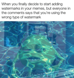 Made with H2O: When you finally decide to start adding  watermarks in your memes, but everyone in  the comments says that you're using the  wrong type of watermark Made with H2O