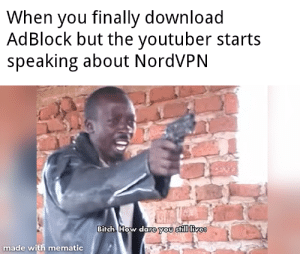 I wonder how much NordVPN pays youtubers: When you finally download  AdBlock but the youtuber starts  speaking about NordVPN  Birch How dare you still livee  made with mematic I wonder how much NordVPN pays youtubers