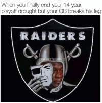 When you finally end your 14 year  playoff drought but your QB breaks his leg  RAIDERS  @FUNNIE  STNFL  MEMES The Jordan meme is so overused but this was one of the most creative ones. @funniestnbamemez