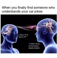 """Memes, Pizza, and Boost: When you finally find someone who  understands your car jokes  """"Gallo 12 or  Gallo 24?""""  """"I didn't know  pizza places  made motors"""" Oh wait that's just me talking to myself in the mirror 😶 . . carmemes jdm turbo boost tuner carsofinstagram carswithoutlimits carporn instacars supercar carspotting supercarspotting stance stancenation stancedaily racecar blacklist cargram carthrottle itswhitenoise"""