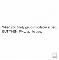FML: When you finally get comfortable in bed.  BUT THEN: FML, got to pee.  MEMES