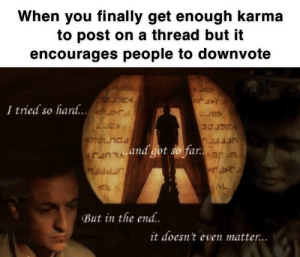 Reddit, Karma, and Got: When you finally get enough karma  to post on a thread but it  encourages people to downvote  I tried so hard...  and got so far  But in the end..  it doesn t even matter.. RIP posting on threads