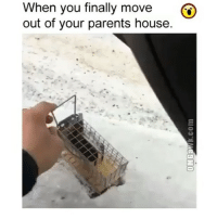 Wait for it..: When you finally move  G)  out of your parents house. Wait for it..