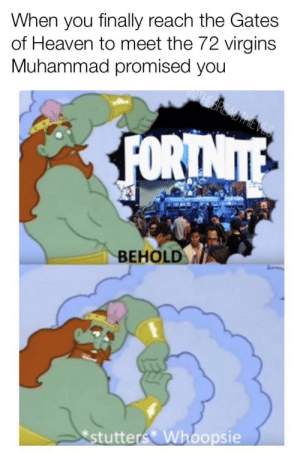 Heaven, Reddit, and True: When you finally reach the Gates  of Heaven to meet the 72 virgins  Muhammad promised you  FORTNITE  BEHOLD  stutters Whoopsie I knew it was too good to be true
