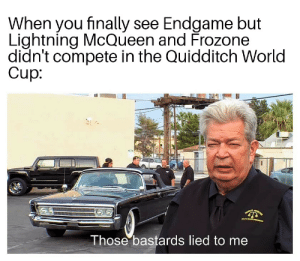 Frozone, Reddit, and World Cup: When you finally see Endgame but  Lightning McQueen and Frozone  didn't compete in the Quidditch World  Cup  Those bastards lied to me My disappointment is immeasurable