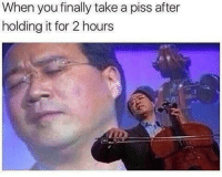 "<p>The sweet release via /r/memes <a href=""http://ift.tt/2qU81Np"">http://ift.tt/2qU81Np</a></p>: When you finally take a piss after  holding it for 2 hours <p>The sweet release via /r/memes <a href=""http://ift.tt/2qU81Np"">http://ift.tt/2qU81Np</a></p>"