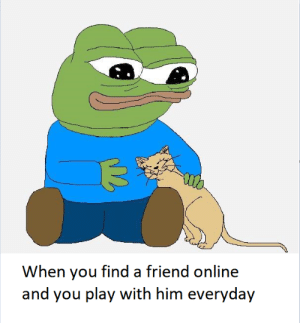 awesomacious:  I have no other friends too: When you find a friend online  and you play with him everyday awesomacious:  I have no other friends too