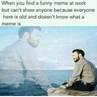 Meme At: When you find a funny meme at work  but can't show anyone because everyone  here is old and doesn't know whata  meme is