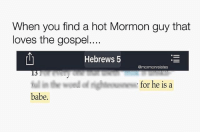 Memes, Cake, and Mormon: When you find a hot Mormon guy that  loves the gospel....  Hebrews 5  @mormonrelates  for he is a  babe. (Insert very clever caption here) 😂😂 mormonsgetit • • • Cake or pie? 😆