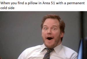 Permanent: When you find a pillow in Area 51 with a permanent  cold side