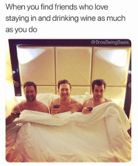Drinking, Friends, and Love: When you find friends who love  staying in and drinking wine as much  as you do  @BrosBeingBasic If you're not following @brosbeingbasic you're not living 😭🍷🍷 @brosbeingbasic