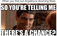 Haha personally I'd rather Jennifer Anniston @trustfundbeauty @hilarioushumanitarian brangelina 💔: When you find out Angelina is divorcing Brad.  So YOURE TELLING ME  @HilariousHumanitaria  THERE'S A CHANCEp Haha personally I'd rather Jennifer Anniston @trustfundbeauty @hilarioushumanitarian brangelina 💔