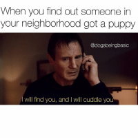 When you find out someone in  your neighborhood got a puppy  @dogsbeingbasic  I will find you, and will cuddle you I heard your little puppy bark, you will be mine. @shopdbb