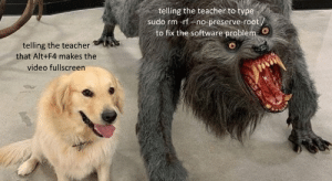 When you find out the teacher's using Ubuntu…: When you find out the teacher's using Ubuntu…