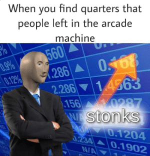 Dank Memes, Arcade, and You: When you find quarters that  people left in the arcade  machine  560  286  .9%  0.12%  0.168  2.28614563  156 0287  WAStonks  A0 0.1204  0.234 0.1902  21  213  N/A We just hit the jackpot