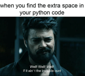 Cunt, Space, and Python: when you find the extra space in  your python code  Well! Well! Well!  If it ain' t the invisible cunt Python