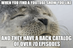 Watch, Back, and How: WHEN YOU FINDA YOUTUBESHOWYOULIKE  AND THEYHAVEA BACK CATALOG  OFOVER70EPISODES How many more am I going to watch? All of them.