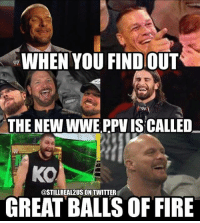 wwe wwememes raw smackdownlive sdlive funny memes prowrestling wrestling: WHEN YOU FINDOUT  THE NEWWWE PPVISCALLED  KO  @STILL REAL2USIONTWITTER  GREAT BALLS OF FIRE wwe wwememes raw smackdownlive sdlive funny memes prowrestling wrestling