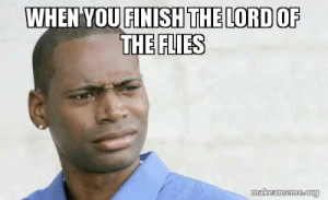 When you finish the Lord of the Flies - Confused Black Man   Make a Meme: WHEN YOU FINISH THE LORD OF  THE FLIES  makeameme.org When you finish the Lord of the Flies - Confused Black Man   Make a Meme