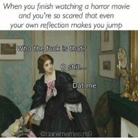 Memes, Jumped, and 🤖: When you finish watching a horror movie  and you're so scared that even  your own reflection makes you jump  Who the fuck is that?  O shit  ao  Dat me  @dank memes,m9 That moment 😂 @dankmemes.m9