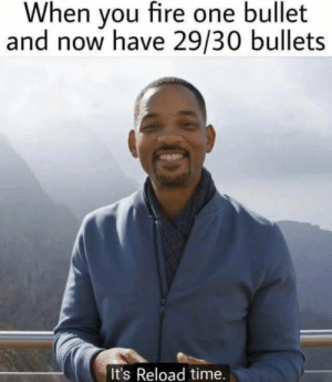 Fire, Memes, and Tumblr: When you fire one bullet  and now have 29/30 bullets  It's Reload time. More of the best memes at http://mountainmemes.tumblr.com
