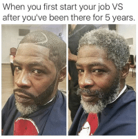 Af, Jamie Foxx, and Memes: When you first start your job VS  after you've been there for 5 years. Jamie Foxx looking old af now! (@stupidresumes)