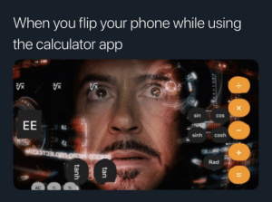 Phone, Reddit, and Calculator: When you flip your phone while using  the calculator app  sin  COS  EE  a  sinh cosh  +  Rad  CDED HICBO B0ECLICES  AC  %  tan  tanh It's a whole different world
