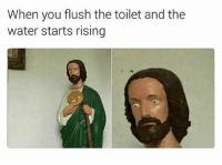 God help me: When you flush the toilet and the  water starts rising God help me