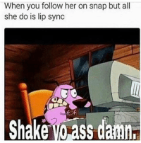 Funny, Her, and Snap: When you follow  her on snap but all  she do is lip sync  Shake Vorss damn, 😒