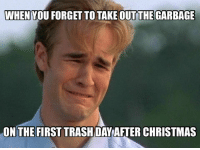 Adult problems.: WHEN YOU FORGET TO TAKE OUTTHE GARBAGE  ON THE FIRST TRASH DAY AFTER CHRISTMAS Adult problems.