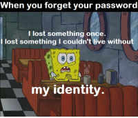 Lost: When you forget your password  0  I lost something once.  I lost something I couldn't live without  0  my identity.