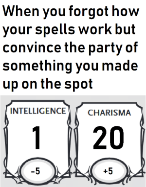 Party, Work, and DnD: When you forgot how  your spells work but  convince the party of  something you made  up on the spot  INTELLIGENCE  CHARISMA  1  20  -5  +5 Pro Orc Bard in a shellnut