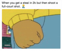 Basketball, Nba, and Sports: When you get a steal in 2k but then shoot a  full-court shot.  @NBAMEMES 2k gotta fix that🤦‍♂️😂 nba nbamemes nba2k
