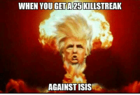 Isis, Memes, and 🤖: WHEN YOU GET A25 KILLSTREAK  AGAINST ISIS Sent by Matt, a patriot.