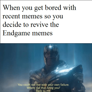 Bored, Memes, and Live: When you get bored with  recent memes so you  decide to revive the  Endgame memes  You could not live with your own failure.  Where did that bring you?  Back to me R.I.P The boy's :(