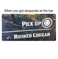 A wet hole is a wet hole. 🤷‍♂️ (@decelerateyourlife): When you get desperate at the bar  PICK UP O  RUINED COUGAR A wet hole is a wet hole. 🤷‍♂️ (@decelerateyourlife)