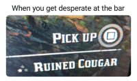Meirl: When you get desperate at the bar  PICK UP O  RUINED COUGAR Meirl