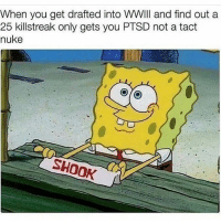 Meme, Memes, and 🤖: When you get drafted into WWIII and find out a  25 killstreak only gets you PTSD not a tact  nuke  SHOOK This is highly offensive as a Ac 130 I do not approve of this meme